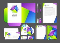 corporate identity creative color template design, business. - stock illustration