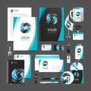 Stationery design set black turquoise corporate identity Stock Illustration