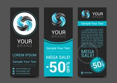 Business set of modern turquoise vector banners Stock Illustration