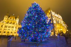 Christmas Tree In Front Off Parliament Building, At Kossuth Square, Budapest, Stock Photos