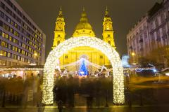 Christmas Tree in St. Stephen's Basilica Square, Budapest, Hungary - stock photo