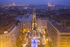 Budapest At Twillight Skyline - Basilica Xmas Fair Stock Photos