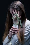 Teenager and slim body phobia - stock photo