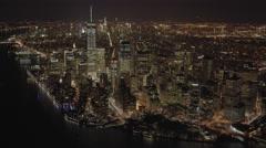 Aerial view of city at night. metropolis urban landmark. new york city skyline Stock Footage