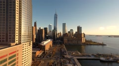 Aerial establishment shot of city skyline metropolis. Shot on Red Epic 4K Stock Footage