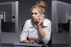 Single workaholic woman Stock Photos