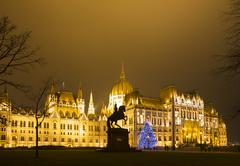 Christmas Tree In Front Off Parliament Building, At Kossuth Square, Budapest, - stock photo