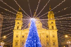 Christmas Tree in St. Stephen's Basilica Square, Budapest, Hungary Stock Photos