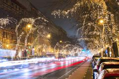 Christmas Tree Light On Central Street in Budapest, Hungary Stock Photos