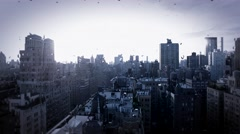 Raining day in the city. urban city metropolis background. Stock Footage