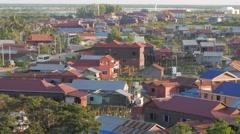 A village near Tonle Sap lake,Phnom Krom,Cambodia Stock Footage