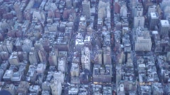police helicopter surveillance camera records aerial footage over new york city - stock footage