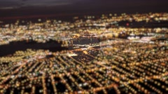 aerial view of  illuminated highway traffic at night. car lights road background - stock footage