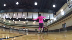 Girls playing basketball in the gym Stock Footage