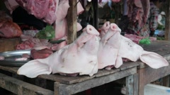 Pig head for sale on market,Siem Reap,Cambodia Stock Footage
