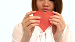 Sad woman halving heart shape Stock Footage