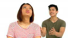 Stock Video Footage of Asian couple having argument