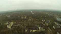 Center of Pripyat with a view to the Chernobyl station from a height. - stock footage