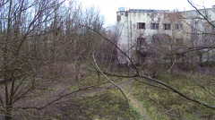 The city of Pripyat. Stopped the clock on the roof of the swimming pool. Aerial. - stock footage