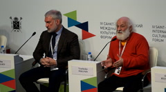 Slava Polunin during final plenary session of 4th St. Petersburg Cultural Forum - stock footage
