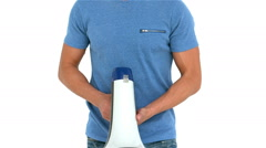 Angry man shouting with megaphone Stock Footage