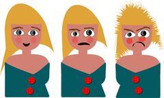 crazy cartoon girl - stock illustration