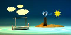 Traditional windmill and traditional boat Stock Illustration