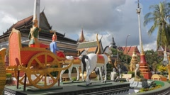 Colorful temple with statue of horse cart,Siem Reap,Cambodia Stock Footage