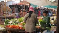 Vegetable market,Siem Reap,Cambodia Stock Footage