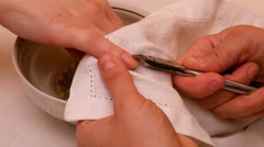Manicure painting and polishing nails in spa salon Stock Footage