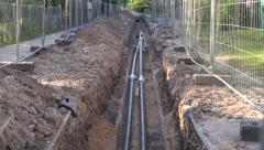 Central heating pipes in the ditch Stock Footage