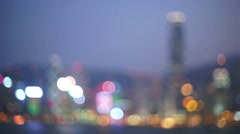 Victoria harbour hong kong skyline - stock footage