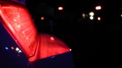 Flashing red light on emergency vehicle - stock footage