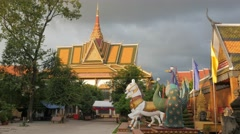 Wat Preah Prom Rath just before sunset,Siem Reap,Cambodia Stock Footage