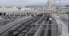 Pan from approaching train to Downtown Los Angeles 4K Stock Footage