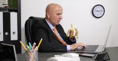 Businessman Inside Office Room Eat Fruit Answer Landline Call Work Resting Time Stock Footage