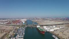 Los Angeles Harbor & Bridge- Drone ftg L.A. River Stock Footage
