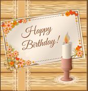 Birthday scrapbooking card with candle Stock Illustration