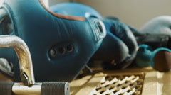 Equipment for boxing, a helmet, dumbbells, gloves Stock Footage