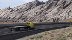 Semi truck on open highway Stock Footage