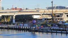 Darling Quarter construction site, Darling Harbour, Sydney in 4k Stock Footage