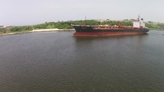 Tanker Ship canal entrance Drone aerial Havana Bay, Cuba Daytime Stock Footage