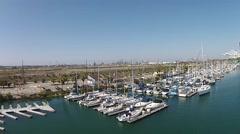 Drone ftg boat docks Los Angeles Harbor Stock Footage