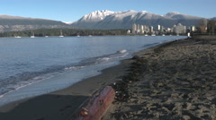 Kitsilano Beach Waves, Mountain Snow, English Bay 4K Stock Footage