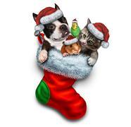 Pet Holiday Stocking - stock illustration