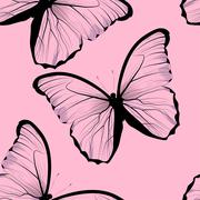 seamless tiling repeating butterfly pattern - stock illustration