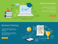 set of content for website of online  education and business training - stock illustration