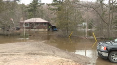 Severe spring flooding in Huntsville Muskoka ontario Canada Stock Footage