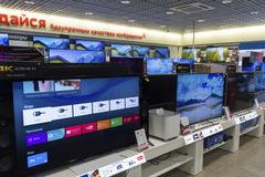 Khimki, Russia - December 22 2015. TV in Mvideo large chain stores selling el Stock Photos