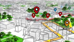 Localization, GPS Navigation, Path Finding in the city. Routing. Stock Footage